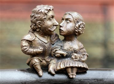 The bronze miniature for people in love. The last owners of Uzhhorod Castle are Miklós Bercsényi and Krisztina Csáky.